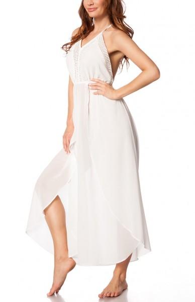 Weißes transparentes Boho-Kleid aus mehreren Stoffschichten und Neckholder-Bindung luftiges Strandkl
