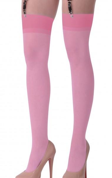 Dessous Straps Strümpfe aus weichem Material und Netz in rosa Stockings mit Clip für Strapshalter Bä
