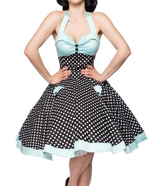 Schwarz blaues ausgestelltes Rockabilly Kleid gepunktet mit Tellerrock als Neckholder zum binden Sto