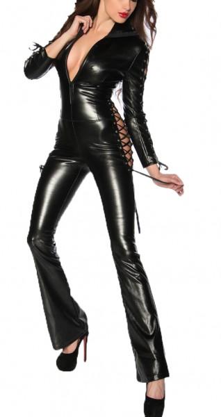 Schwarzer glänzender Wetlook Overall mit Schnürung und Reißverschluss aus Kunstleder lang