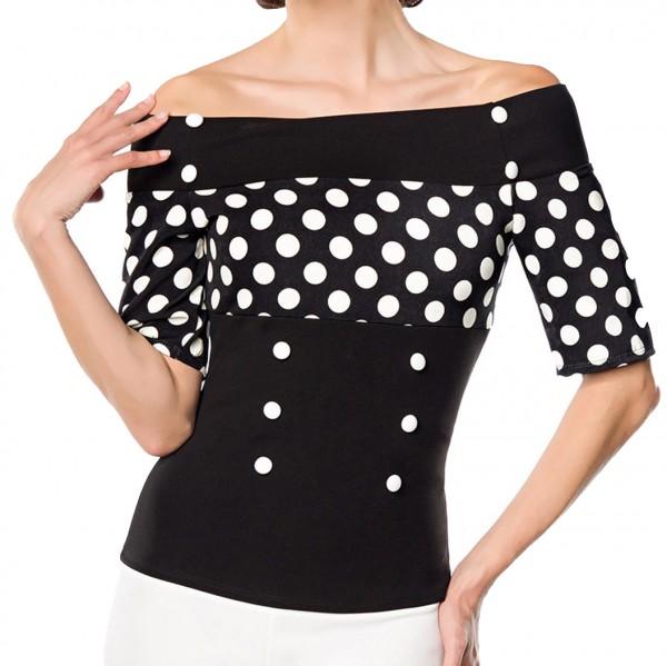 Schulterfreie Bluse aus Jersey mit kurzen Ärmeln und Carmenausschnitt weiß gepunktet Retro-Top mit K