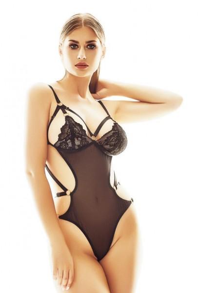 Schwarzer transparenter Damen Dessous String Body mit Spitzen Cups und Gummi Bänder