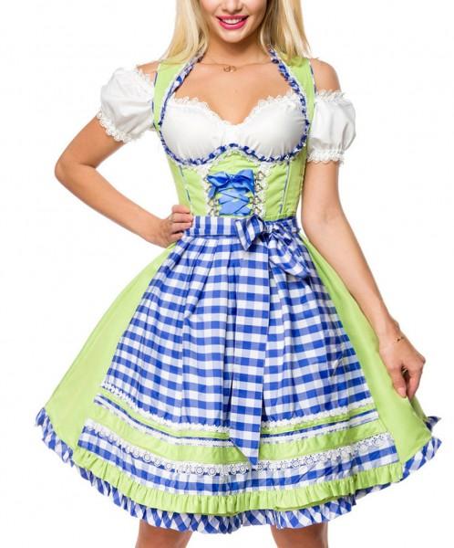 Unterbrust-Dirndl Kleid Kostüm mit Herzausschnitt Schleife Schnürung und Schürze aus kariertem Stoff