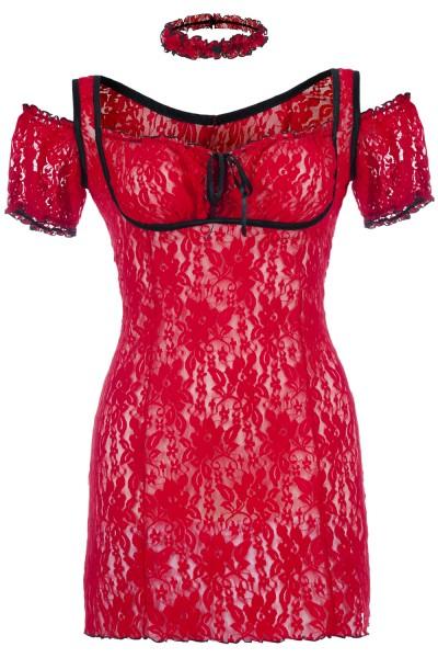 Rotes Spitzen Chemise transparent mit Schnürung Damen Negligee XXL Plus Size