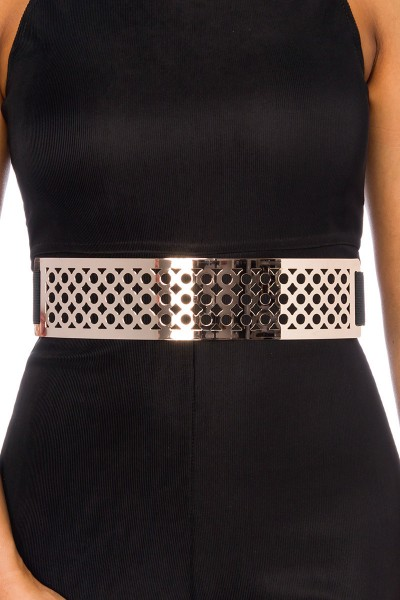 Damen Gürtel breit aus Metall mit Löchern in schwarz Metallgürtel mit Gürtelband
