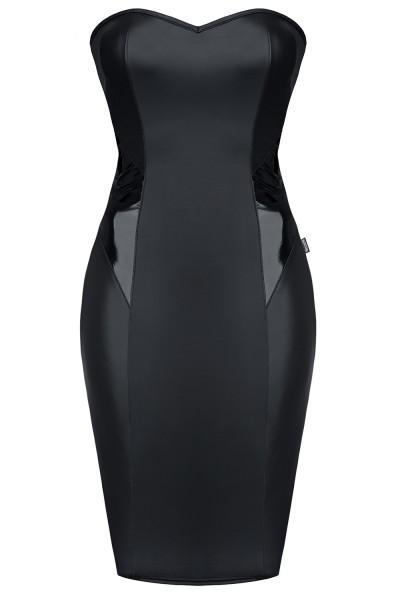 Schwarzes Damen wetlook bandeau Gogo Kleid knielang mit Schnürung fetisch Kleid