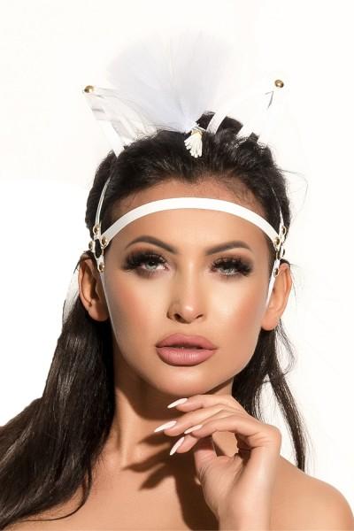 Damen Dessous fetisch Kopfmaske Maske Kopf-Schmuck inweiß