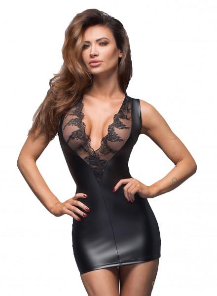 Schwarzes erotisches Damen Dessous Mini-Kleid aus Lederimitat mit Spitze Gogo fetisch Kleid