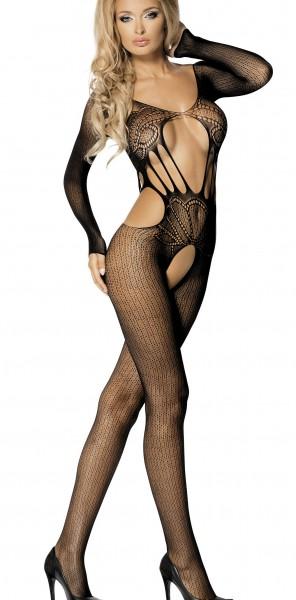 Schwarzes Damen Dessous Bodystocking lange Ärmel Nacht-Kleid aus Netz transparent Catsuit ouvert S/L