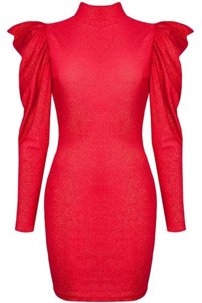 Rotes Minikleid mit langen Ärmeln, Kragen und Rückenausschnitt elegantes Abendkleid kurz glänzend