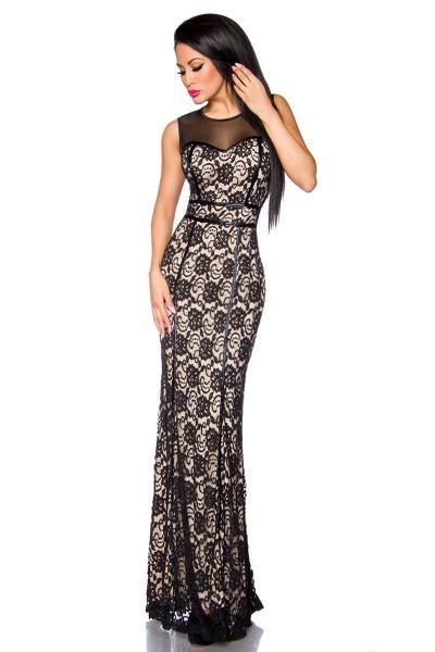 Schwarzes langes Abendkleid aus Spitze mit transparentem Rücken und Blumenmuster