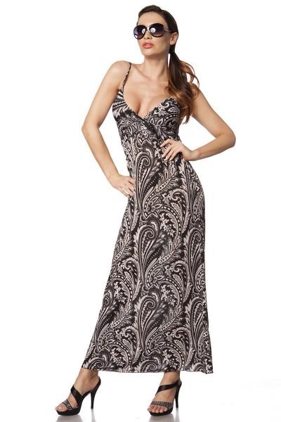 Maxikleid luftig Damen Sommerkleid in braun beige mit Muster V-Ausschnitt OneSize XS-L