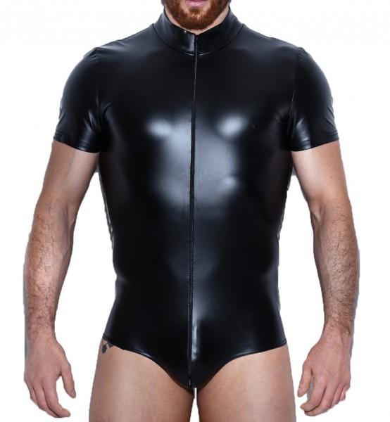 Herren Dessous fetisch Overall mit 2-Wege Reißverschluss in wetlook schwarz kurz dehnbar
