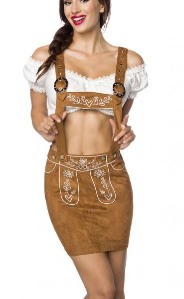 Brauner Damen Trachtenrock mit Hosenträgern und Stickereien Velourlsederoptik Bayrische Latzrock Led