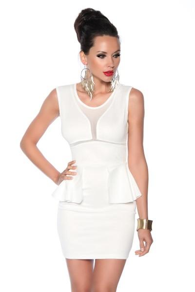 Weißes Cocktailkleid mit Netzeinsätzen und Schößchen Rockteil sowie breiten Trägern teiltransparent