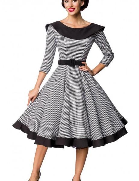 Retro Damen Swingkleid in weiß mit schwarzen Hahnentrittmuster Vintagekleid mit dreiviertel Ärmeln u