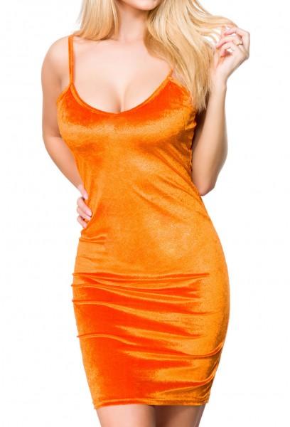 Oranges Damen Samt Kleid mit tiefem Ausschnitt Rückenfrei und schmalen Trägern V-Ausschnitt