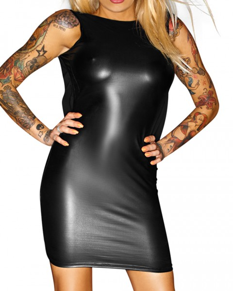 Schwarzes Dessous Kleid rückenfrei aus wetlook Material mit Kette Damen Minikleid