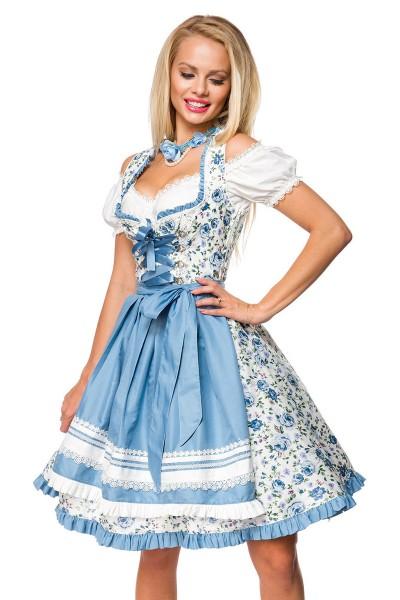 Dirndl Kleid Kostüm mit Herzausschnitt Schleife Schnürung und Schürze aus Blumen Stoff und Spitze Ok
