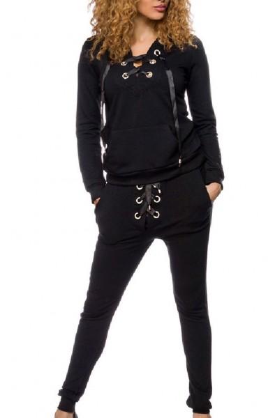 Schwarzer zweiteiliger Damen Jogginganzug mit Kapuzenpulli und Strass Schnürung aus Baumwolle Zipper