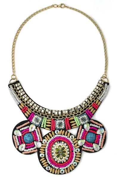 Orientalische Statement Kette mit Perlen und Steinchen Umhänger Kette bunt gemustert