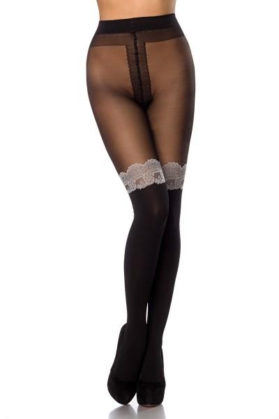 Transparente schwarze Damen Strumpfhose mit Overknee Design mit Spitze elastischer Bund