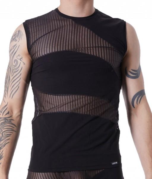 Schwarzes Herren Dessous T-Shirt halbtransparent Clubwear Männer Unter- Hemd