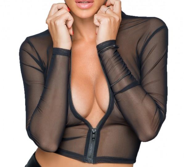 Frauen Tüll Oberteil Top bauchfrei mit Reißverschluss Jacke transparent schwarz langarm mit Kragen