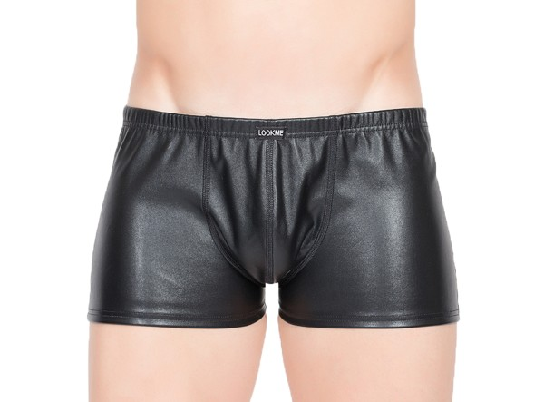 Heren Slip Kunstleder-Boxer Shorts in wetlook schwarz elastisch