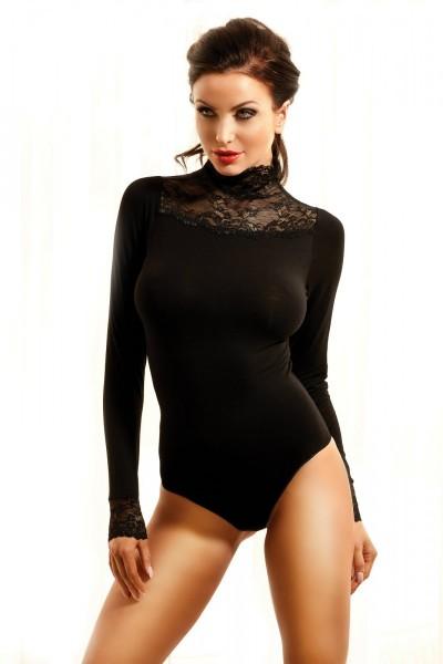 Schwarzer erotischer Damen Body Moments langarm mit Spitze Hakenverschluss dehnbar