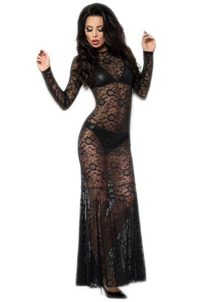Langes Spitzenkleid in schwarz transparent inkl. BH und Panties Damen Dessous Set