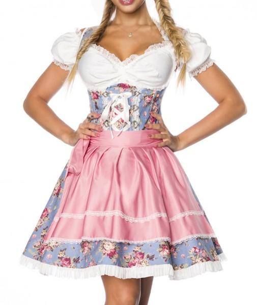 Dirndl Kleid Kostüm mit Bluse und Schürze aus Denim Stoff und Spitze Oktoberfest Dirndl blau/rosa/we