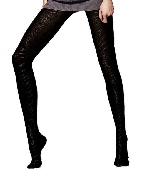 Damen Strumpfhose Feinstrumpfhose mit elegantem Muster Strümpfe in schwarz