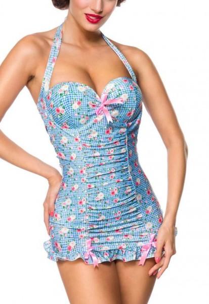 Elastischer Damen Badeanzug Neckholder Bade-Kleid mit Schleife und Rosen Blüten Blumen Muster blau r