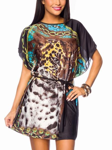Bunte Damen Tunika mit Paisleymuster weit geschnitten mit angeschnittenen Ärmeln schwarz weiß