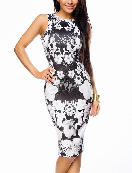 Damen Pencil Kleid mit Blumenmuster in schwarz weiß Bleistiftkleid eng Blumendruck