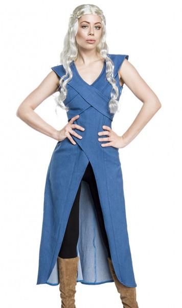 Damen asymmetrisches Fantasy Kostüm Drachenmutter Verkleidung aus Kleid, Perücke, Leggings und Schul