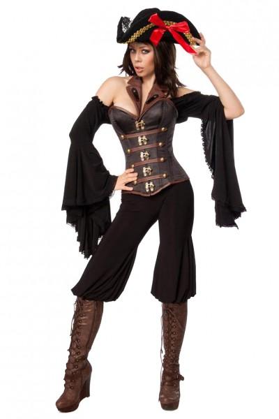 Damen Piraten Bluse Kostüm Verkleidung mit Hose, Corsage, Hut und Spitzenbesatz in schwarz braun Tro