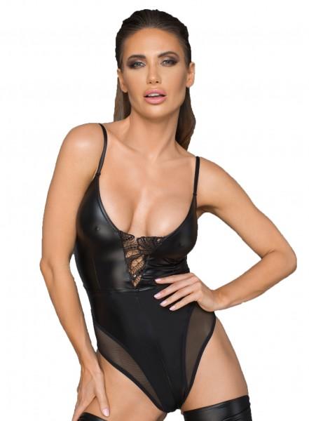 Damen Dessou Gogo wetlook Body mit Stickerei, Tüll-Einsätzen und Reißverschluss in schwarz