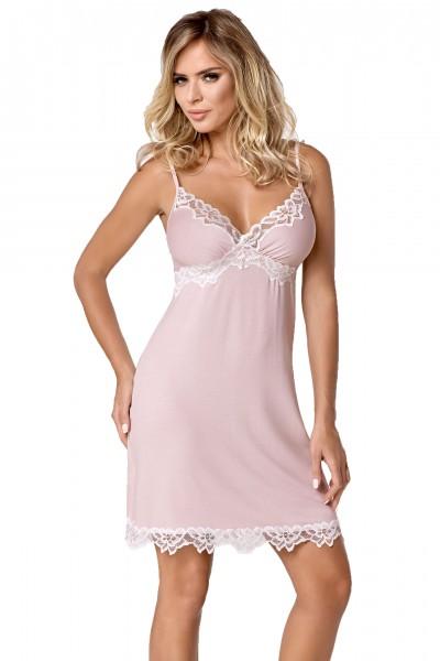 Erotisches Damen Dessous Chemise Nachtkleid mit Spitze Nachthemd rosa weiß
