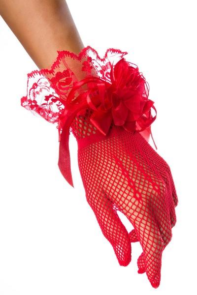 Netzhandschuhe kurz mit Spitze transparent elegante Handstulpen Netzhandschuhe