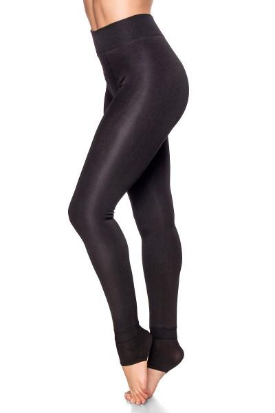 Schwarze Damen Leggings mit flauschiger Innenseite und warm haltend hoch geschnitten enge Stoffhose