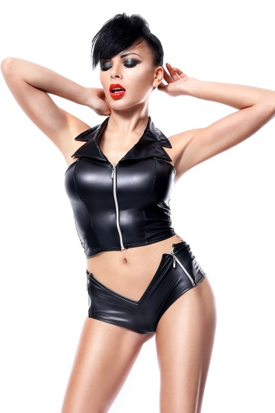 Damen Dessous Set wetlook schwarz aus Top und Panty Gogo Club Reizwäsche Set Oberteil und Slip