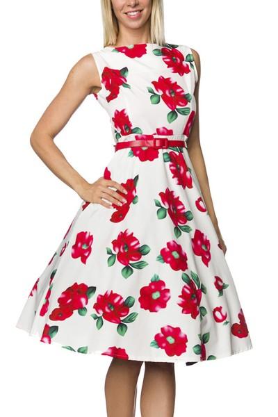 Geblümtes Rockabilly retro Kleid mit Gürtel Damen vintage Sommerkleid knielang weiß rot