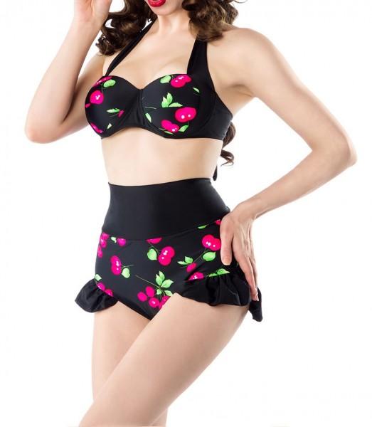 Retro Vintage Damen Bikini gepaddet mit Kirschmuster und High Waist Höschen in schwarz pink