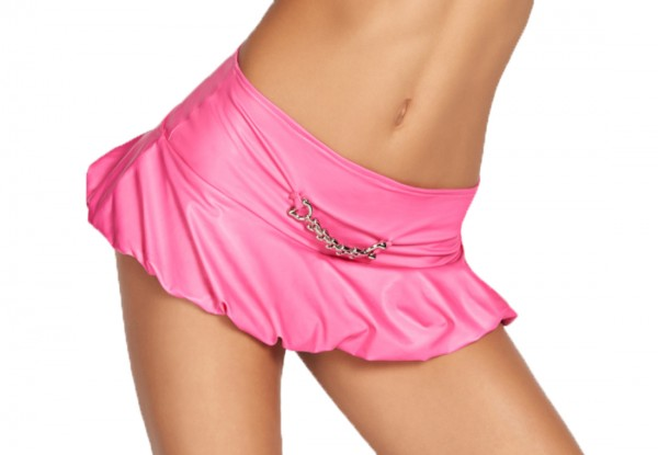 Damen Dessous Gogo Mini Rock in pink aus wetlook Material mit Kette