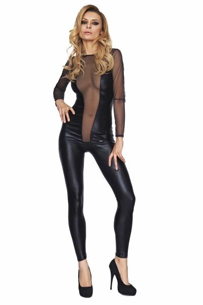 Dessous Wetlook Catsuit Body dehnbar erotisch mit Tüll Stoff teiltransparent Damen Anzug schwarz