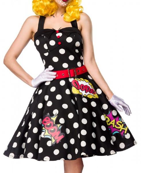 Damen Pop Art Girl Kleid Kostüm Verkleidung mit Kleid, Gürtel, Handschuhe aus mit Comic Muster ausge