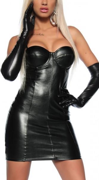 Schwarzes kurzes Kleid aus Kunstleder glänzend mit Push Up Effekt abnehmbare Träger Wetlook