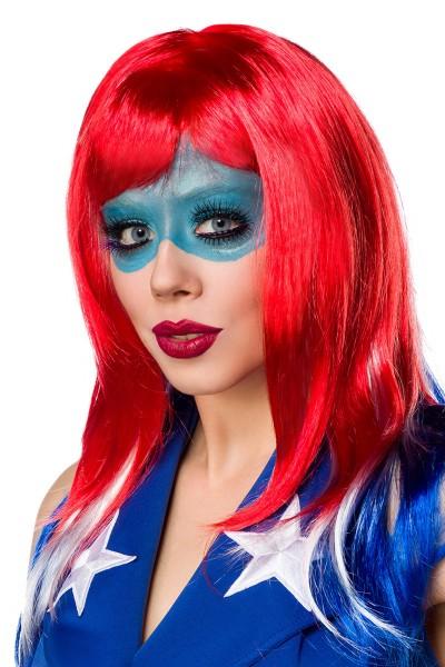Rote blau weiße Damen Stufen Perücke Wig mit fransigen Schnitt und Pony Amerika Perücke